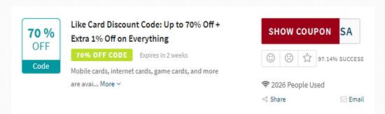 Like Card Discount Code