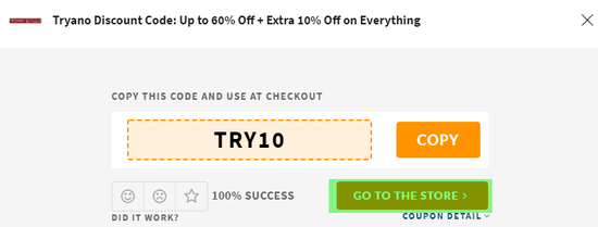 Tryano Coupon